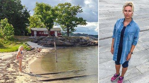 KONFLIKT OM FERDSELSRETT: Camilla Hernes og hennes familie har tinglyst veirett mellom sin hytte og forbi Trond Ramskis bygning (det røde huset) til brygga. Ramski eier svaberget, og vil nekte Hernes å gå over det til stranda. Nå frykter Hernes at det blir rettssak også om retten til å gå de få meterne til stranda. Foto: Privat