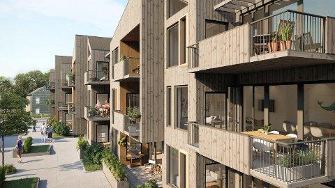 NYE BYGG: Det skal nå bygges tre nybygg med totalt 17 leiligheter på parkeringstomta ved det gamle skolebygget på Osebakken.