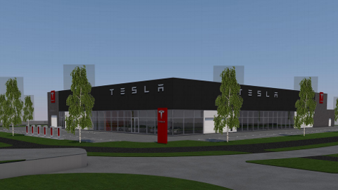 BETYDELIG STØRRELSE: Slik planlegger Tesla at det nye anlegget skal se ut. Foto: Illustrasjon: Enger Utvikling AS.