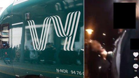 RASISME: Fredag kveld oppsto en alvorlig situasjon på et tog fra Porsgrunn til Drammen. I bildet ser det ut til at en konduktør tar kvelertak på en mørkhudet jente. Men nærmere undersøkelse viser en helt annen historie. Foto: NTB/Privat