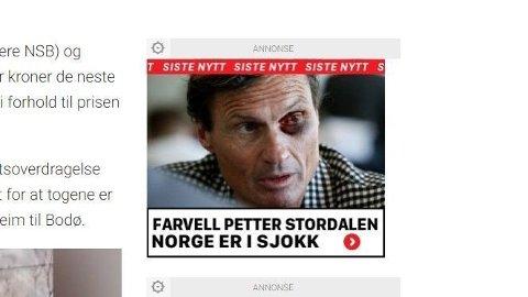 «FARVELL»: Slik lød annonsen der Petter Stordalen var blitt brukt.Foto: (Skjermdump: Dagbladet)