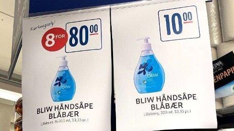 FRAMSTÅR SOM TILBUD: Rema 1000 hengte nylig opp denne plakaten i en av sine butikker, hvor 8 for 80 framstår som et godt kjøp. Foto: Marie Dahle/Privat