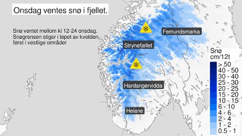 Slik ser meteorologene for seg onsdagens snøvær i fjellene.