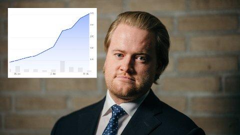 Rakettvekst: Kursen har økt voldsomt siden analytiker Christoffer Wang Bjørnsen anbefalte aksjen i oktober i fjor. Nå forventer han, og flere andre eksperter, ny stigning på børsen.