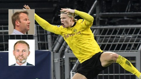 NEKTES DETTE: En halv million kunder får verken se Champions League eller Bundesliga med Norges superspiss Erling Braut Haaland. Telias kommunikasjonsdirektør Henning Lunde (innfelt, over) sier det fortsatt er håp. Kim Poder, kommersiell direktør for Nent Group, ber derimot Telia slutte å gi sine kunder falske forhåpninger.Foto: AP / NTB / Kjetil Mæland / Flickr