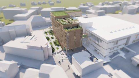 OPP IGJEN: Redusert bygghøyde for planlagt Hotel Nora i Skien gjør at saken igjen kommer til politikerne.