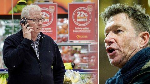REAGERER: Terje Aasland (til høyre) fra Arbeiderpartiet reagerte på lønnspakken til Torbjørn Skei i Coop Midt-Norge.  Foto: Johan Arnt Nesgård (Trønder-Avisa) / Vegard Wivestad Grøtt (NTB)
