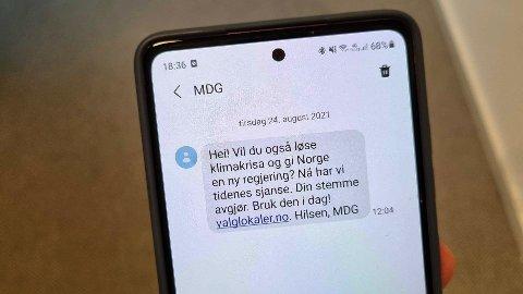 Dette er SMS-en som MDG har sendt ut til over 100.000 nordmenn. Foto: Nettavisen