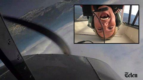 RYGGFLYGNING: Slik ser det ut da Telens journalist ble bedt om å delta på aerobatikkflygning.