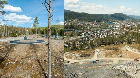 PRISFORSKJELL: Tomter i boligfelt på Kongsberg er opp til 12 ganger dyrere enn i Hjartdal. Bildene viser Åsen-feltet i Sauland til venstre og Gamlegrendåsen til høyre.