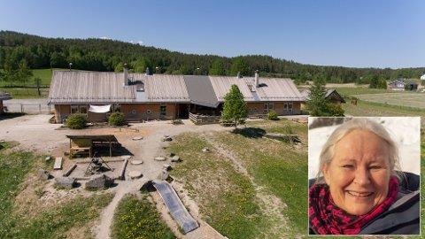 NY SKOLE: På dette området på Skollenborg planlegges steinerskolen på Kongsberg. I første omgang for første- og andre trinn, forteller styreleder Cathrine Nordlie (innfelt).