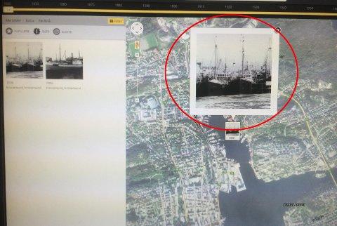 Bildet i rød ring fra havnebassenget i Kristiansund, er 85 år gammelt.