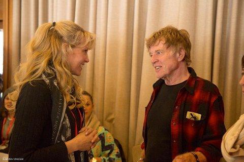 Grethe Bøe-Waal spiste lunsj sammen med Robert Redford under Sundance Film Ferstival denne uken. Foto: Privat