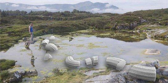Kunst: Statens vegvesen vil på Vevang i Eide plassere en orm i italiensk marmor. illustrasjon fra Statens vegvesen