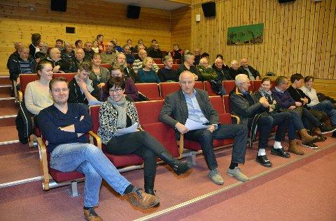 Folkemøte: Rådmann Peter Ardon, leder av arbeidsgruppa for kommunereformen Anita Ørsal Oterholm og ordfører Ola Rognskog på folkemøte med 51 oppmøtte i Halsahallen mandag kveld.