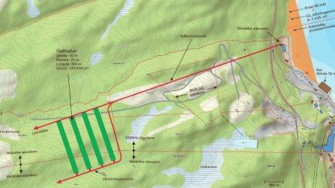 Slik ser de foreløpige planene ut for et nytt, stort deponi ved Sunndalsfjorden/Tingvollfjorden. Foto: Ill.: Bergmesteren Raudsand AS