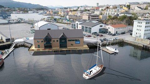 Slik ser Holbø Consulting for seg nybygget på Devoldholmen som de nå har tegnet for Kristiansund og Nordmøre Havn. Lerøy Midt skal inn i bygget, pluss en aktør til.
