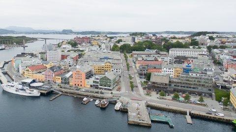 Kristiansund sentrum. Bildet er tatt siste uka i juni 2019.