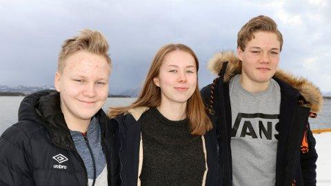 Reidar Heilevang, Andrea Visnes Eide og Iver Nås frå Eide ungdomsskole