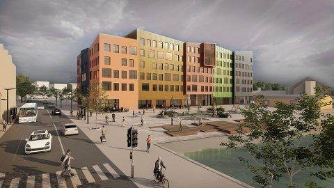 Dette er den første illustrasjonen fra reguleringsforslaget for Campus Kristiansund.