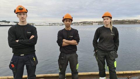 Ettertraktet: Nicklas Nordstrøm (fra venstre), Munaser Ali og Dagmar Jakobsen starter sin yrkeskarriere som lærlinger hos Stranda Prolog.