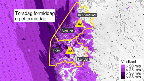 Her er det meldt om kraftige vindkast på gult nivå på torsdag.