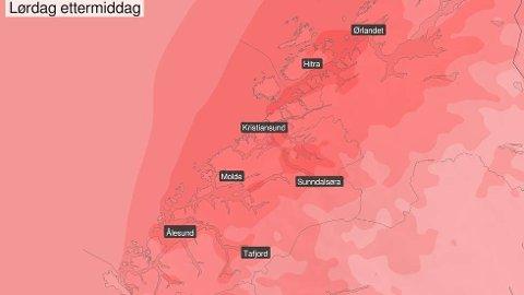 Dette ser mer ut som varselet for en fin sommerdag enn for helga før julaften ...