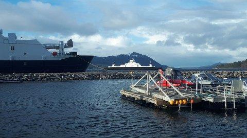 To «flo-faste» ferger på Halsafjorden: «Lote» ute på fjorden, «Svanøy» fortøyd ved småbåthavna.