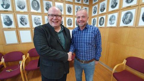 Per Vidar Kjølmoen og Kjell Neergaard gleder seg til å bygge et flott kulturhus i Kristiansund.