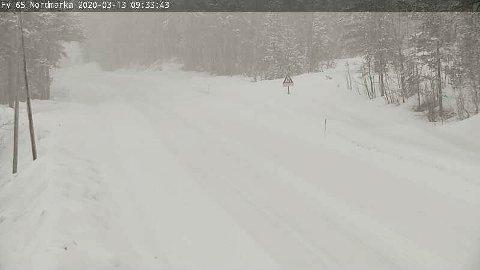 Slik ser det ut på Nordmarka i Surnadal fredag formiddag.