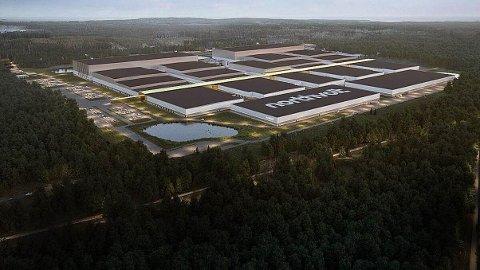 FABRIKK: Slik kan en ferdig batterifabrikk se ut. Det kreves i første omgang 400 dekar, senere kanskje opptil 1.000 dekar for å etablere fabrikken.