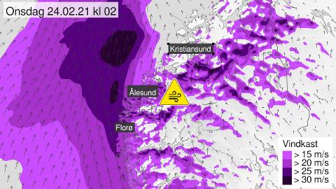 Dette varselet for vind i området ble lagt ut av @Meteorlologene på Twitter tirsdag ettermiddag.