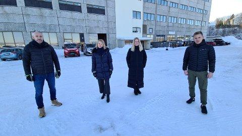 Tor Henrik Eide (fra venstre), Sidsel Sæterøy, Cecilie Holsen og Morten Veiset satser offensivt i Melkvika næringspark.