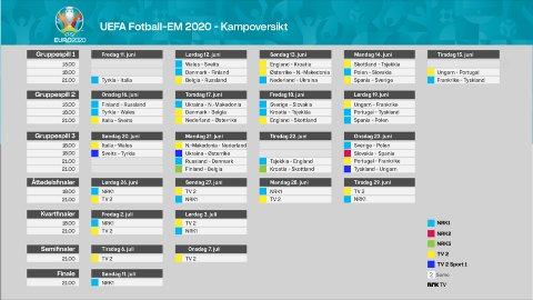 KAMPFORDELING: Slik er sendeplanen for EM på TV 2 og NRK.