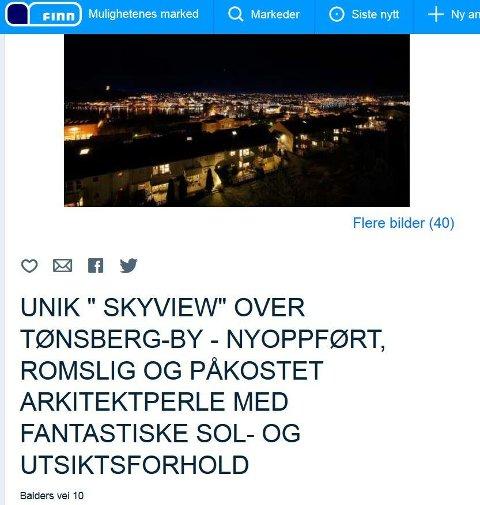 INGEN TRÆR: Naboens trær ødelegger ikke lenger for utsikten. Nå ligger huset i Valhalla på Nøtterøy til salgs.