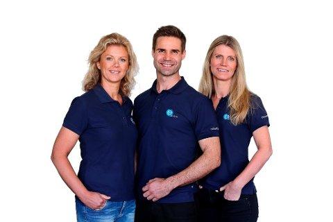 VEILEDNINGSTEAM: Fra venstre: Sykepleier Mona F. Lystad, lege Andreas Bjørang og ernæringsfysiolog Kirsti Holt Nilsen i e2 Helse.
