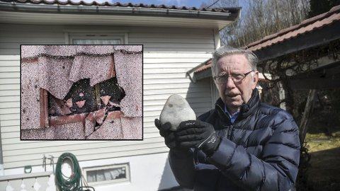 SKREMT: Det var her det skjedde. Bjarne E. Lie i Lienveien på Notodden er skremt etter steinkastingen i påsken. Denne steinen på 2,56 kilo kunne likeså godt havnet gjennom baderomsvinduet (bildet) og truffet noen i hodet som oppe på taket – om gjerningspersonen ikke hadde vært sterk nok.