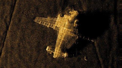 Dette flyvraket fra andre verdenskrig ble fotografert av Hugin i 2017.