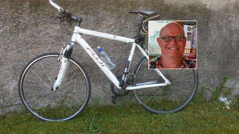Henning Sværds sykkel forsvant helt plutselig fra bilfestet på vei fra Nøtterøy til Skallevoll - og siden har den vært borte. Til info er gaffelen byttet ut i en sort karbongaffel siden bildet ble tatt.