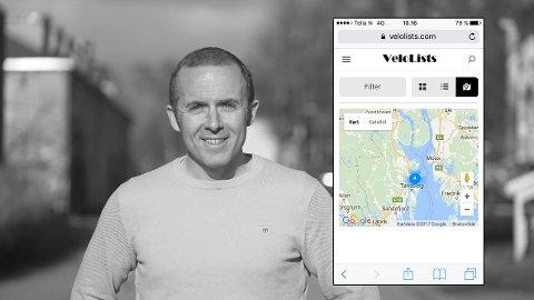 Hallvar Bergh er gründeren bak tjenesten Velolists, som setter sykkeldeling på dagsorden. Skjerdumpen fra nettstedet viser at fire sykler leies ut på Barkåker.