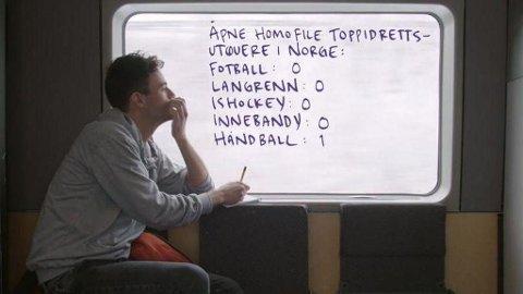 DYSTER OVERSIKT: Gisle A. Gjevestad Agledahl finner i NRK-serien Jævla Homo ut at det finnes svært få åpne homofile i toppidretten.