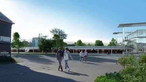 KAN BLI SLIK: Ny Stokke stasjon sett mot sørøst. Søndre hjørne av tidligere Stokke rådhus til venstre i bildet. Illustrasjon: Bane Nor