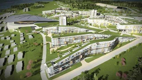 OCC: Slik ser arkitekt Niels Torp for seg at det anlegget på Brunstad kan bli seendes ut. ILL: Arkitekt Niels Torp