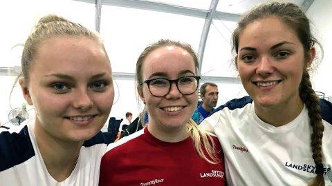 LAGET: Det norske laget som kom på 11. plass i VM. Fra venstre Jenny Stene, Karoline Hansen og Jeanette Hegg Duestad.