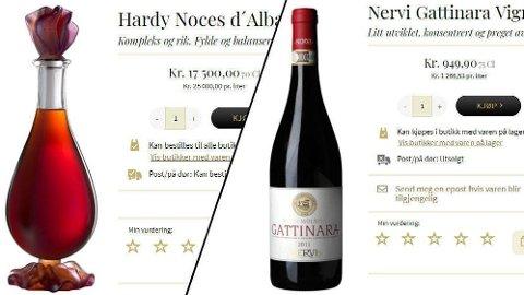 ØKER I PRIS: Her er to av varene som øker mye i pris hos Vinmonopolet. Konjakken fra Hardys øker mest i kroner. Vinen fra Nervi er den varen i det vanlige utvalget som øker mest i pris. Foto: (Vinmonopolet/Nettavisen)
