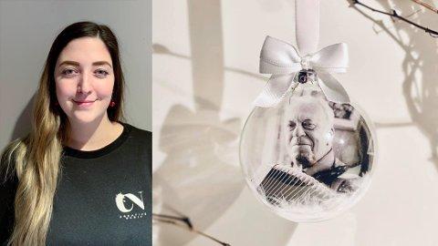 PERSONLIG MINNE: Nadia kom på ideen da hun skulle lage pynt til juletreet hjemme. – Jeg syntes det ville være hyggelig med et bilde av farfar, forteller hun.