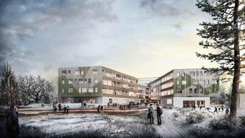PRESTISJEPROSJEKT: Nye Horten videregående skole scorer høyt på miljø- og klimavennlige løsninger, men busstilbudet voldte fylkespolitikerne hodebry. Illustrasjon: LINK Arkitekter.