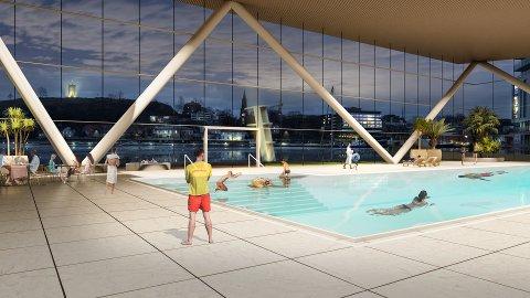 KALDNES-ALTERNATIVET: Med utsikt fra svømmehallen mot Slottsfjellet og Brygga.