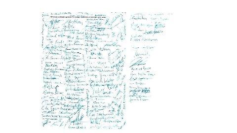 SIGNATURER: Det åpne brevet er undertegnet av et stort antall medlemmer av Brunstad Kristelige Menighet Horten.