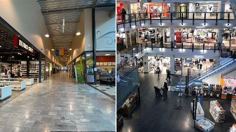 Charlottenbergs Shoppingsenter i Värmland ligger i et område med et smittetrykk på 25. Oslo City ligger i en bydel med smittetrykk på 144 - nesten seks ganger så høyt. Bare ett av dem utløser karanteneplikt. Foto: (Nettavisen / Scanpix)